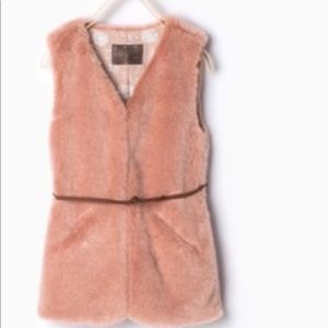 Zara peach faux fur vest with brown tie